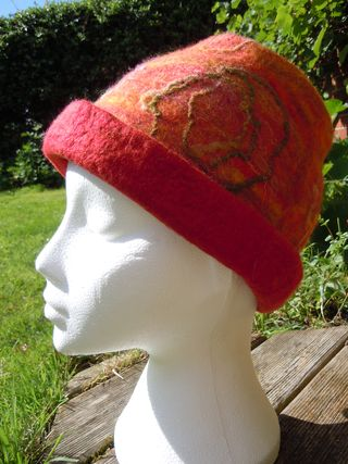 Wet felted hat for autumn